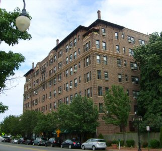 Cooperative apartments in the Wychwood co-op in Great Neck Plaza, Long Island, New York